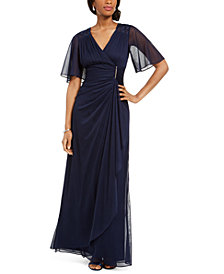 Betsy & Adam Ruffled Faux-Wrap Gown