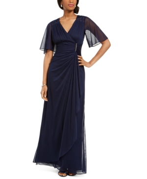 Ruffled Faux-Wrap Gown