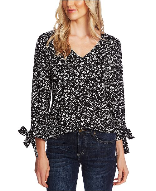 CeCe Tie-Sleeve V-Neck Top