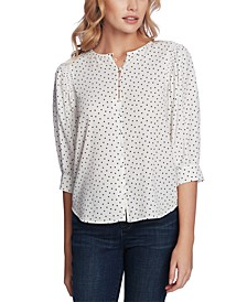 Dotted Blouson-Sleeve Top