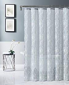 "Rita 70"" x 72"" Chenille Embroidered Shower Curtain"