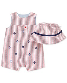 Baby Boys 2-Pc. Cotton Striped Hat & Anchor Sunsuit