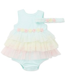 Baby Girls 2-Pc. Headband & Tiered Popover Bodysuit Set
