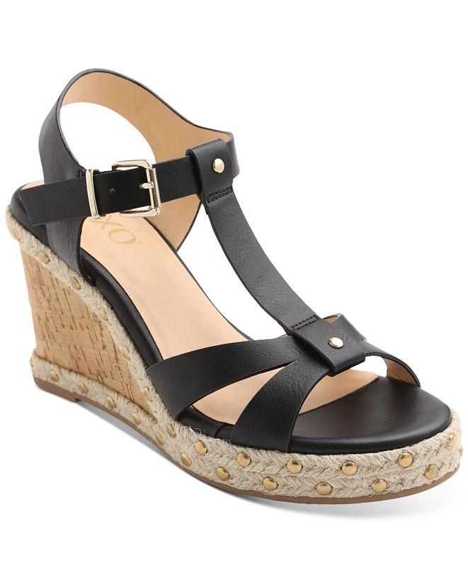 XOXO Isla T-Strap Espadrille Wedge Sandals