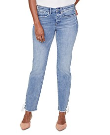 Sheri Lace-Up Frayed-Hem Ankle Jeans