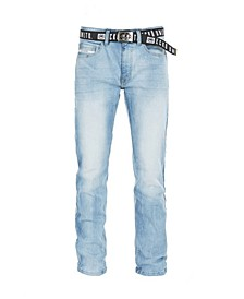 Men's Stretch New Belt Rhino Buckle Denim Pant