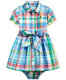 Baby Girls Plaid Shirtdress & Bloomer, Created For Macy's