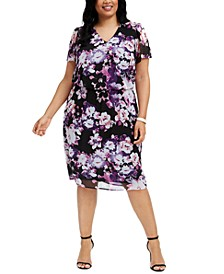 Plus Size Floral-Print Chiffon Midi Dress