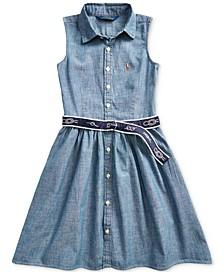 폴로 랄프로렌 Polo Ralph Lauren Big Girls Belted Chambray Shirtdress,Indigo