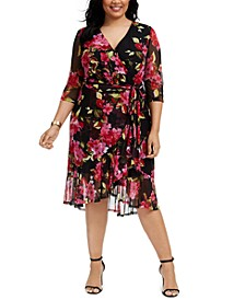 Plus Size Tie-Belted Surplice Dress