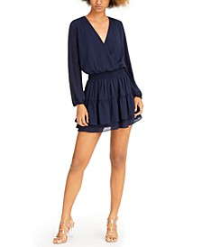 Long-Sleeve Ruffled Mini Dress