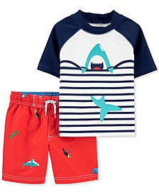 Baby Boys 2-Pc. UPF 50+ Shark Rash Guard & Board Shorts Set