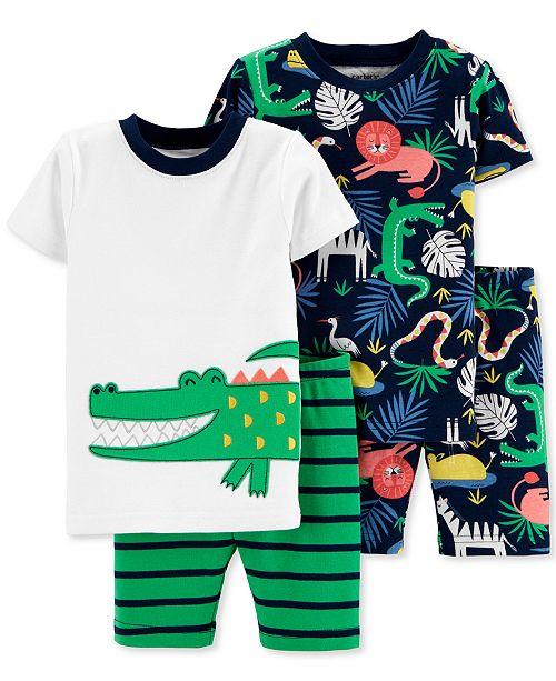 Carter's Baby Boys 4-Pc. Jungle-Print Cotton Pajamas Set