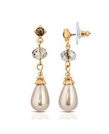 Gold-Tone Imitation Pearl with Black Diamond Drop Earrings