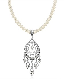 Silver-Tone Crystal Filigree Drop On Imitation Pearl Necklace