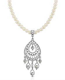 2028 Silver-Tone Crystal Filigree Drop On Imitation Pearl Necklace