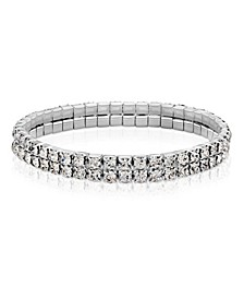 Silver-Tone Clear Crystal 2-Row Rhinestone Stretch Bracelet