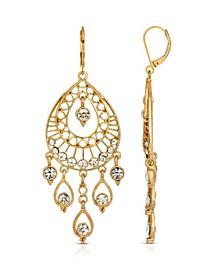 Gold-Tone Crystal Filigree Teardrop Earrings