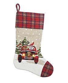 Snowy Car By Santa Light up Christmas Stocking