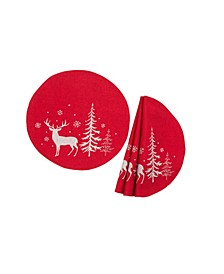 Deer In Snowing Forest Double Layer Round Christmas Placemat - Set of 4