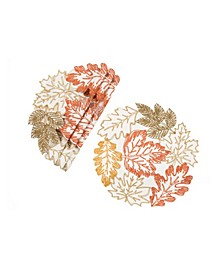 Autumn Leaves Embroidered Cutwork Round Placemats - Set of 4