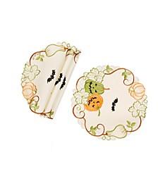 Halloween Jack-O-Lanterns Embroidered Cutwork Round Doilies - Set of 4