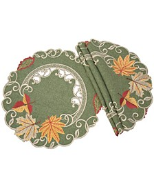 Delicate Leaves Embroidered Cutwork Fall Round Placemats - Set of 4