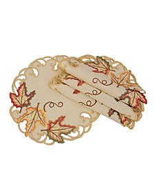 Moisson Leaf Embroidered Cutwork Fall Doilies - Set of 4