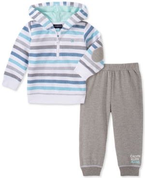 Calvin Klein Baby Boys 2-Pc. Striped Hoodie & Jogger Pants Set
