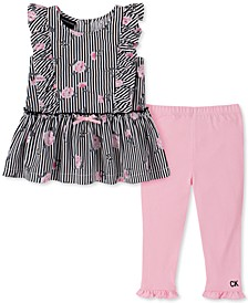 Baby Girls 2-Pc. Floral Peplum Top & Leggings Set
