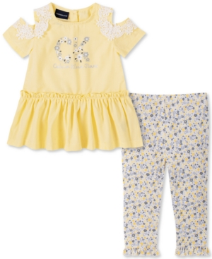 Calvin Klein Baby Girls 2-Pc. Cold-Shoulder Tunic & Floral-Print Leggings Set