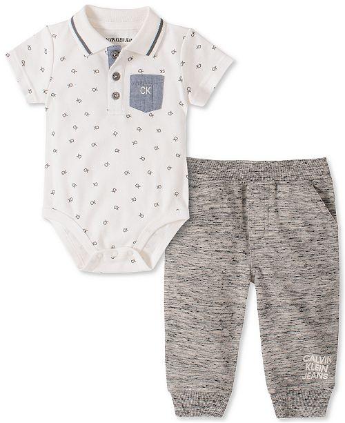 Calvin Klein Baby Boys 2-Pc. Polo Bodysuit & Jogger Pants Set