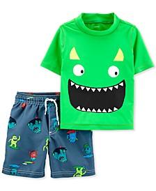 Baby Boys 2-Pc. Monster Rash Guard Set