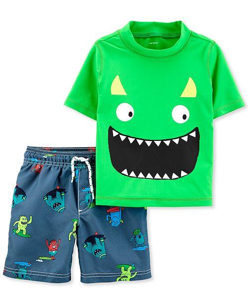 Carter's Baby Boys 2-Pc. Monster Rash Guard Set