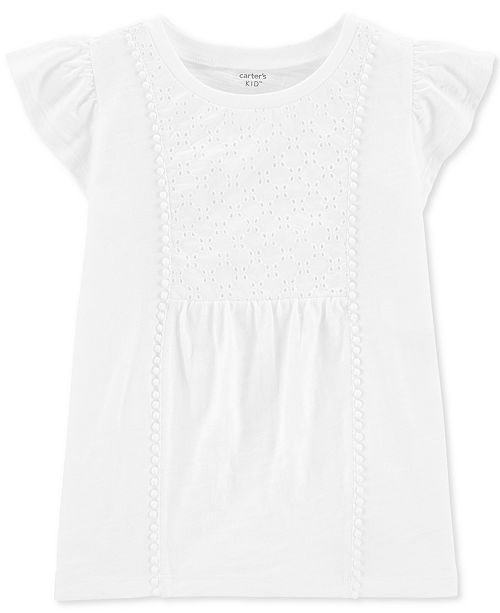 Carter's Little & Big Girls Ivory Crocheted Eyelet Top