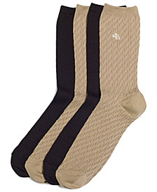 Lauren Ralph Lauren Women's Cable Supersoft Trouser 2 Pack Socks