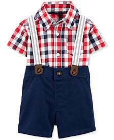 Baby Boys 3-Pc. Plaid Shirt Bodysuit, Suspenders & Shorts Set