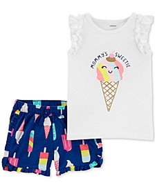 Baby Girls 2-Pc. Ice Cream Cone Cotton Top & Printed Shorts Set