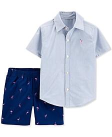 Baby Boys 2-Pc. Flamingo Cotton Shirt & Shorts Set