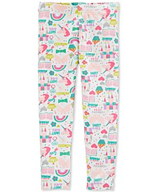 Toddler Girls White Unicorn-Print Leggings