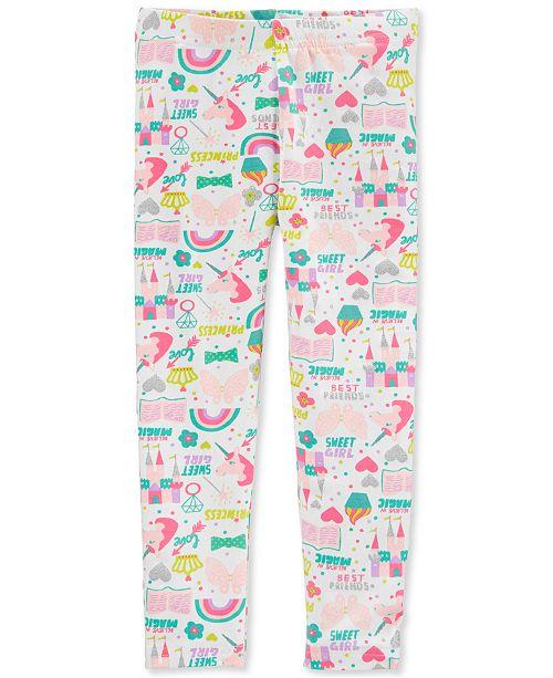 Carter's Toddler Girls White Unicorn-Print Leggings