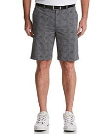 Men's Stretch Geometric Palm-Print Seersucker Golf Shorts