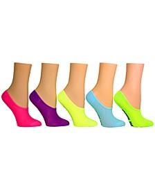 Women's 5-Pk. Neon Microfiber Mesh-Foot Liner Socks