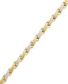 10k Gold and White Gold Bracelet, Two-Tone X Bracelet