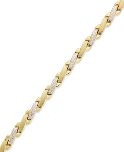 10k Gold and White Gold Bracelet, Two-Tone X Bracelet