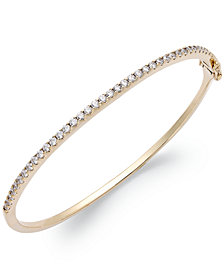 Arabella 14k Gold over Sterling Silver Swarovski Cubic Zirconia Bangle Bracelet (1-3/4 ct. t.w.)