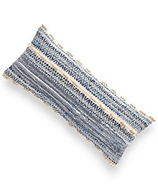 """CLOSEOUT! Denim Chindi Cotton 15"""" x 35"""" Decorative Pillow, Created for Macy's"""