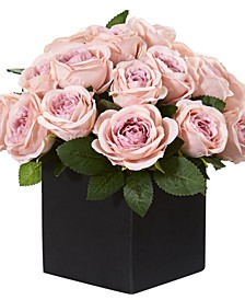 11in. Rose Artificial Arrangement in Black Vase