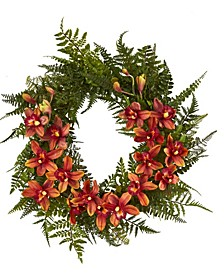 24in. Mixed Fern and Cymbidium Orchid Artificial Wreath