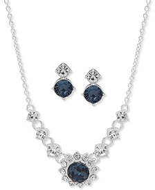 "Silver-Tone Blue Crystal Drop Earrings & Frontal Necklace Set, 16"" + 3"" extender, Created for Macy's"